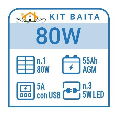 Kit solare a isola per impianti fotovoltaici isolati 80W