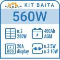 PV Kit 20W - 2 LED lamps - 18Ah battery