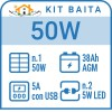 Kit solare a isola per impianti fotovoltaici isolati 50W