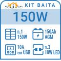 Kit solare a isola per impianti fotovoltaici isolati 150W