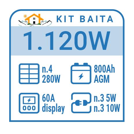 Kit solare a isola per impianti fotovoltaici isolati 1120W