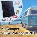 Kit Solare Camper 200W Poli Completo con MPPT