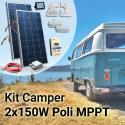 Kit Solare Camper 300W Poli Plus Completo con MPPT