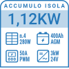 Kit completo a isola 1.12kW con accumulo AGM