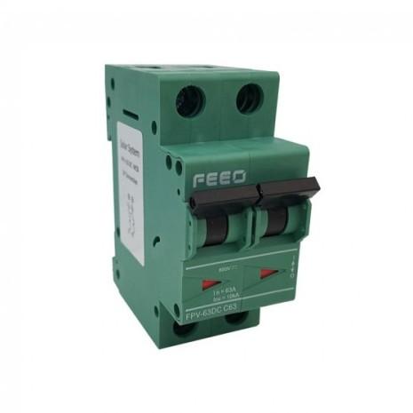 Interruttore bipolare automatico magnetotermico 63A per DC 550VDC