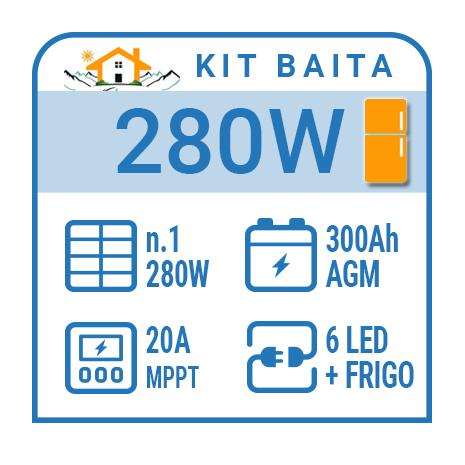 Kit solare a isola per impianti fotovoltaici isolati 300W con frigo