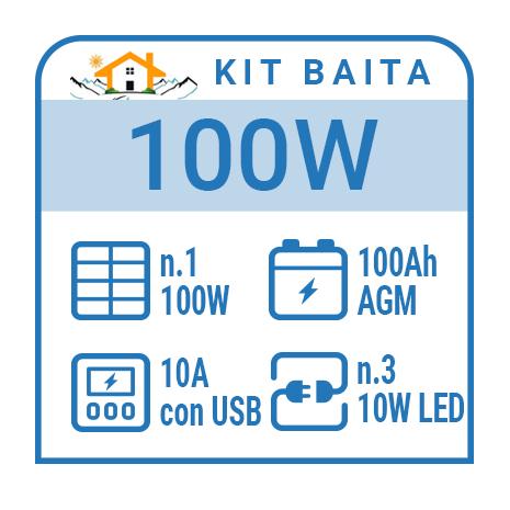Kit solare a isola per impianti fotovoltaici isolati 100W