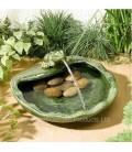 Ceramic solar fountain with frog