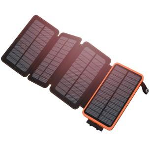 Caricabatterie Power Bank 25000 mAh e pannelli solari 5W e torcia