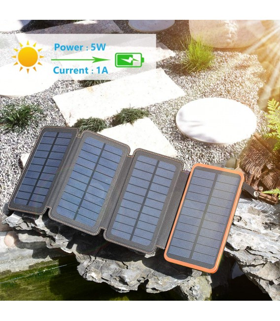 Power Bank 10000 mAh with torch and solar charge 3.6W